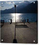 Bench And Street Lamp Acrylic Print by Mats Silvan