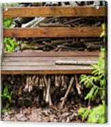 Bench And Wood Pile Acrylic Print