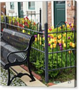 Bench By The Tulips Acrylic Print