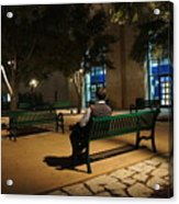 Bench For Reflection In The Night Acrylic Print