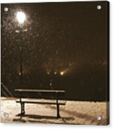 Bench For The Snowflakes Acrylic Print