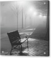 Bench In The Mist Acrylic Print
