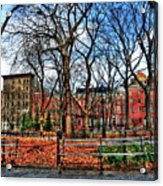 Bench View In Washington Square Park Acrylic Print