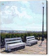 Benches Boardwalk And Lamppost 1 Acrylic Print