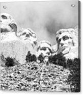 Beneath Mount Rushmore National Monument South Dakota Black And White Acrylic Print
