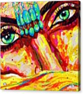Exotic Desert Eyes Painting, Beneath The Niqab Acrylic Print