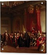 Benjamin Franklin Appearing Before The Privy Council  Acrylic Print by Christian Schussele