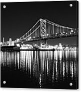 Benjamin Franklin Bridge - Black And White At Night Acrylic Print