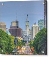 Benjamin Franklin Parkway City Hall Vertical Acrylic Print