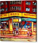 Ben's Delicatessen - Montreal Memories - Montreal Landmarks - Montreal City Scene - Paintings  Acrylic Print