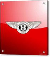 Bentley 3 D Badge On Red Acrylic Print
