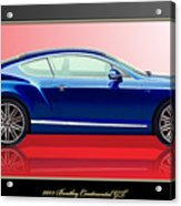 Bentley Continental GT with 3D Badge Acrylic Print