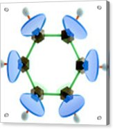 Benzene Molecule Acrylic Print by Lawrence Lawry