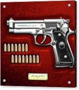 Beretta 92fs Inox With Ammo On Red Velvet  Acrylic Print