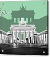 Berlin Brandenburg Gate - Graphic Art - Green Acrylic Print