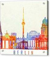 Berlin Landmarks Watercolor Poster Acrylic Print