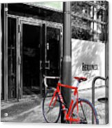 Berlin Street View With Red Bike Acrylic Print