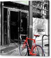 Berlin Street View With Red Bike Acrylic Print by Ben and Raisa Gertsberg