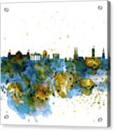 Berlin Watercolor Skyline Acrylic Print