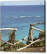 Bermuda Fence And Ocean Overlook Acrylic Print