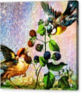 Berries And Birds Acrylic Print