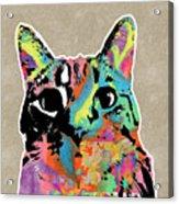 Best Listener Kitty- Pop Art By Linda Woods Acrylic Print