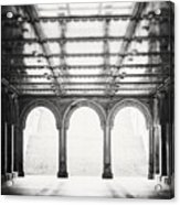 Bethesda Terrace In Black And White Acrylic Print