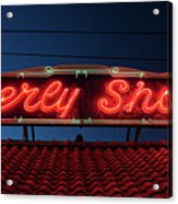 Beverly Shores Indiana Depot Neon Sign Panorama Acrylic Print