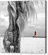 Beyond The Ice Reaper's Grasp -  Menominee North Pier Lighthouse Acrylic Print