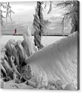 Beyond The Icy Gate - Menominee North Pier Lighthouse Acrylic Print