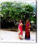 Bff Best Friends Pregnant Women Portrait Village Indian Rajasthani 1 Acrylic Print