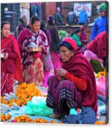 Bhaktapur Holi Market Acrylic Print