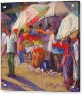 Bhuj Street Market Acrylic Print by Beth Brooks