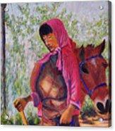 Bhutan Series - Woman With The Horse Acrylic Print