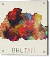 Bhutan Watercolor Map Acrylic Print