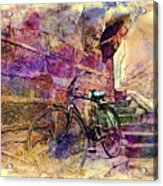 Bicycle Abandoned In India Rajasthan Blue City 1a Acrylic Print