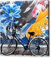 Bicycle Against Mural Acrylic Print