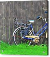Bicycle And Gray Fence Acrylic Print