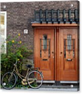 Bicycle And Wooden Door Acrylic Print