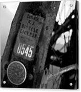 Bicycle License Acrylic Print