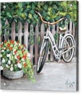 Bicycle On Fence Acrylic Print