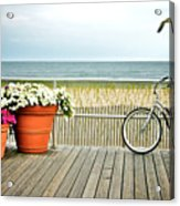 Bicycle On The Ocean City New Jersey Boardwalk. Acrylic Print