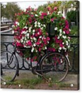 Bicycle Parked At The Bridge In Amsterdam Acrylic Print
