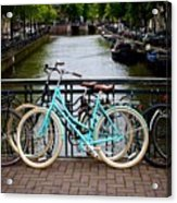 Bicycle Parked At The Bridge In Amsterdam. Netherlands. Europe Acrylic Print