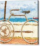 Seaside Bicycle Stand Acrylic Print