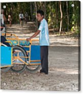 Bicycle Taxi Inside The Coba Ruins  Acrylic Print