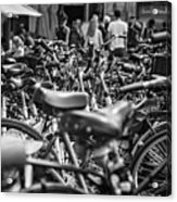 Bicycles Amsterdam Black And White Acrylic Print