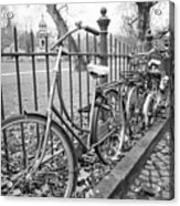 Bicycles Parked At Fence On Street, Netherlands Acrylic Print