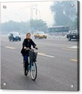 Bicyclist In Beijing Acrylic Print