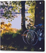 Bicyles By The Lake  Acrylic Print